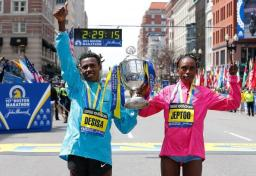 Boston Marathon winners April 15, 2013.